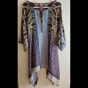 Johnny Was Boho Peasant Asymmetric Hem Dress Tunic